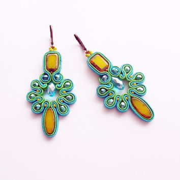 Colorful Soutache Earrings - Dangle Earrings with Crystals - Blue and green Earrings - Colorful Earrings - Soutache Earrings