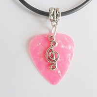 """Pink Guitar pick necklace with music note that is adjustable from 18"""" to 20"""""""