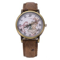High Quality FeiFan Brand Leather Strap Map watches(Light Brown)