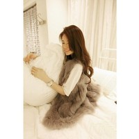 FINEJO Women Vintage Trendy Faux Fur Gilet Vest Jacket Mid-long Outwear Waistcoat