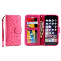 iPhone 6 Glossy Quilted Flip Wallet Case with Strap (Hot Pink)