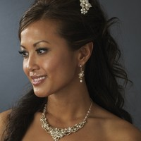 Freshwater Pearl Jewelry and Bridal Comb Set - silver or gold plating