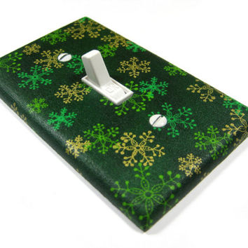 Green Snowflakes Light Switch Cover Christmas Holiday Decoration Seasonal Winter Home Decor  1064