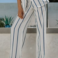 Pay It Forward Trouser - Navy Stripe
