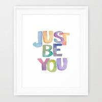 """Inspirational Quote """"Just Be You"""" Watercolor Letters Typography Print Wall Art Motivational Quote  Framed Art Print by PrintableLifeStyle"""