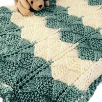 Baby Blanket Striped in Aqua Cream Lace Pattern Caron Simply Soft Hand knit