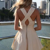 Beige Majority Release CrissCross back and front Dress from xeniaeboutique