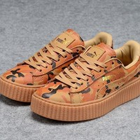 Fenty Rihanna by Puma Leather Creepers Brwon Orange Camo Shoes For Mens Womens
