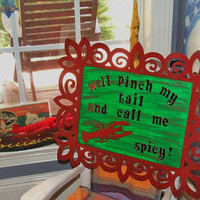 """Louisiana Spicy Crawfish Art -""""Well pinch my tail and call me spicy"""" - FREE SHIPPING"""
