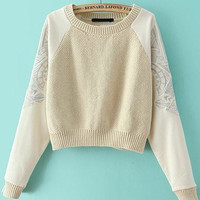 Apricot Embroidered Long Sleeve Cropped Sweater
