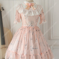 Sweet Chiffon Lace Alice in Wonderland Short Sleeve Knot OP Lolita Dress
