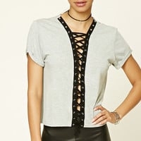 Heathered Lace-Front Tee