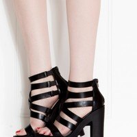 Black Faux Leather Strappy Lug Sole Heels @ Cicihot Heel Shoes online store sales:Stiletto Heel Shoes,High Heel Pumps,Womens High Heel Shoes,Prom Shoes,Summer Shoes,Spring Shoes,Spool Heel,Womens Dress Shoes