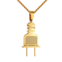 Stainless Steel Switch Plug Designer Pendant 14k Gold Tone Free Necklace 24 Inch