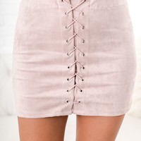Free Falling Lace-Up Skirt (Blush)
