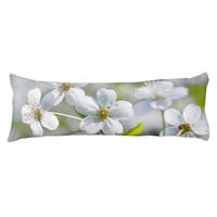 White Cherry Flower Body Pillow