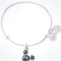 Disney Alex and Ani Mickey Mouse Birthstone Bangle March Silver Finish New