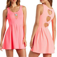 Women Pink Sexy Cut Out Heart Open Back Tank Slim  Pleated Mini Dress