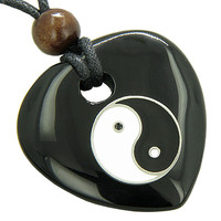 Heart Spiritual Talisman Lucky Ying Yang Black Agate Gem Pendant Necklace