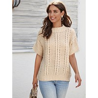 SHEIN Drop Shoulder Cable Knit Top