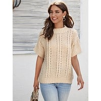 SHEINDrop Shoulder Cable Knit Top