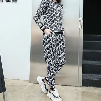 """""""Dior"""" Woman's Leisure Fashion Letter Personality Printing Long Sleeve TrousersTwo-Piece Set Casual Wear Sportswear"""