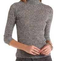 Marled Turtleneck Top by Charlotte Russe - Heather Gray