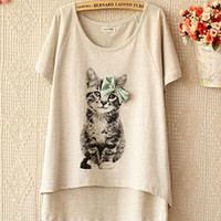 Casual Butterfly Decoration Cats Pattern Round-neck Short Sleeve T-shirts [4962090180]