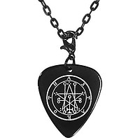 """Astaroth 29th Lesser Seal Goetia Black Guitar Pick Clip Charm on 24"""" Chain Necklace"""