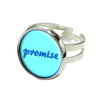 Promise Blue On Blue Silver Plated Adjustable Novelty Ring