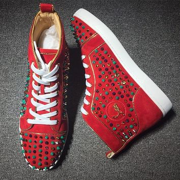 Christian Louboutin CL Louis Spikes Style #1829 Sneakers Fashion Shoes Online