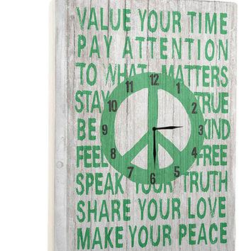 Value Your Time Wall Clock by Artist Lisa Weedn