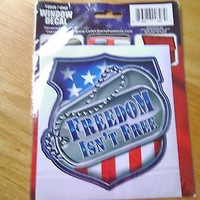 LADY LIBERTY FASHIONS FREEDOM ISN'T FREE VINYL WINDOW DECAL;MILITARY;MULTI COLOR