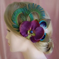 Bridal Fascinator Eggplant Colored Orchid and Peacock Feathers