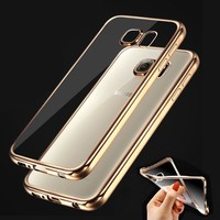 Luxury Gilded Plating Design TPU Cover Case for Samsung Galaxy S5 S6 S6edge S6 sdge Plus S7 S7 Edge phone cases