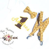 Giraffe Birthday Boy shirt and Suspenders, Birthday outfit, Toddler suspenders, Bow tie and suspenders outfit, 1st birthday outfit