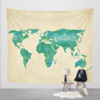 Wall Tapestry // Watercolor World Map