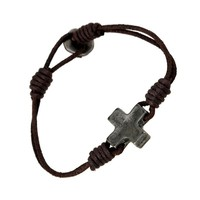 Great Deal Shiny Stylish Gift Awesome Hot Sale New Arrival Accessory Vintage Leather Cross Rack Simple Men Bracelet [6526708291]