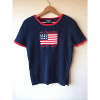XMAS SALE - XL Ralph Lauren Polo Jeans Co. American Flag Logo Sweater // 90s Ralph Lauren Jeans Flag Logo Sweater // Womens Extra Large