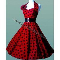 Rockabilly & Pin Up 50's Dress Red with Black Dots