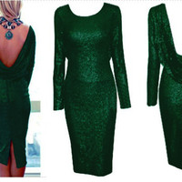 Green Long Sleeve Cowl Back Sequined Bodycon Midi Dress with Back Slit