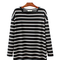 Round Neck Vintage Long Sleeve T-shirt in Stripe