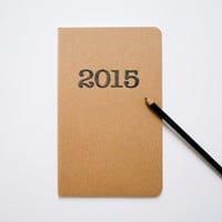 2015 diary, letterpress type font, large moleskine, sketch or lined notebook