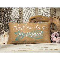 Trust Me I'm A Mermaid Small Decorative Burlap Pillow 12-in