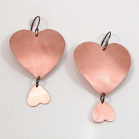Sand Blasted Copper Heart Earrings Sterling by SwankMetalsmithing