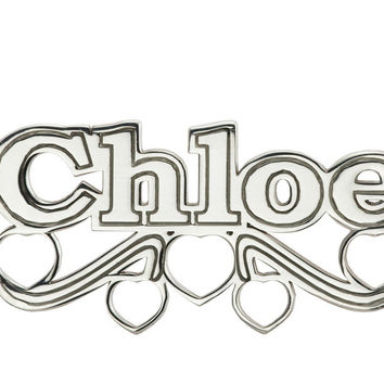 NAME NECKLACE WITH HEART SCROLL - STERLING SILVER