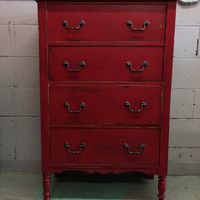 tall dresser with four drawers rustic red rose