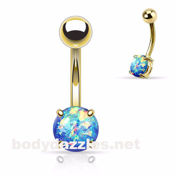 Blue Opal Prong Gold Stainless Steel Belly Ring 14ga Navel Ring Body Jewelry 316L surgical Stainless Steel