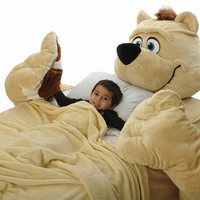 Incredibeds Kids Bed Childs Toddler Teddy Bear Beige Frame With FREE BLANKET