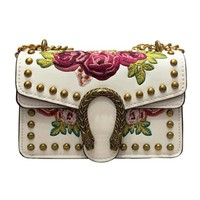 Gucci Trending Women Shopping Rose Embroidery Rivet Metal Chain Lock Buckle Leather Single Shoulder Bag Satchel Crossbody High Quality White